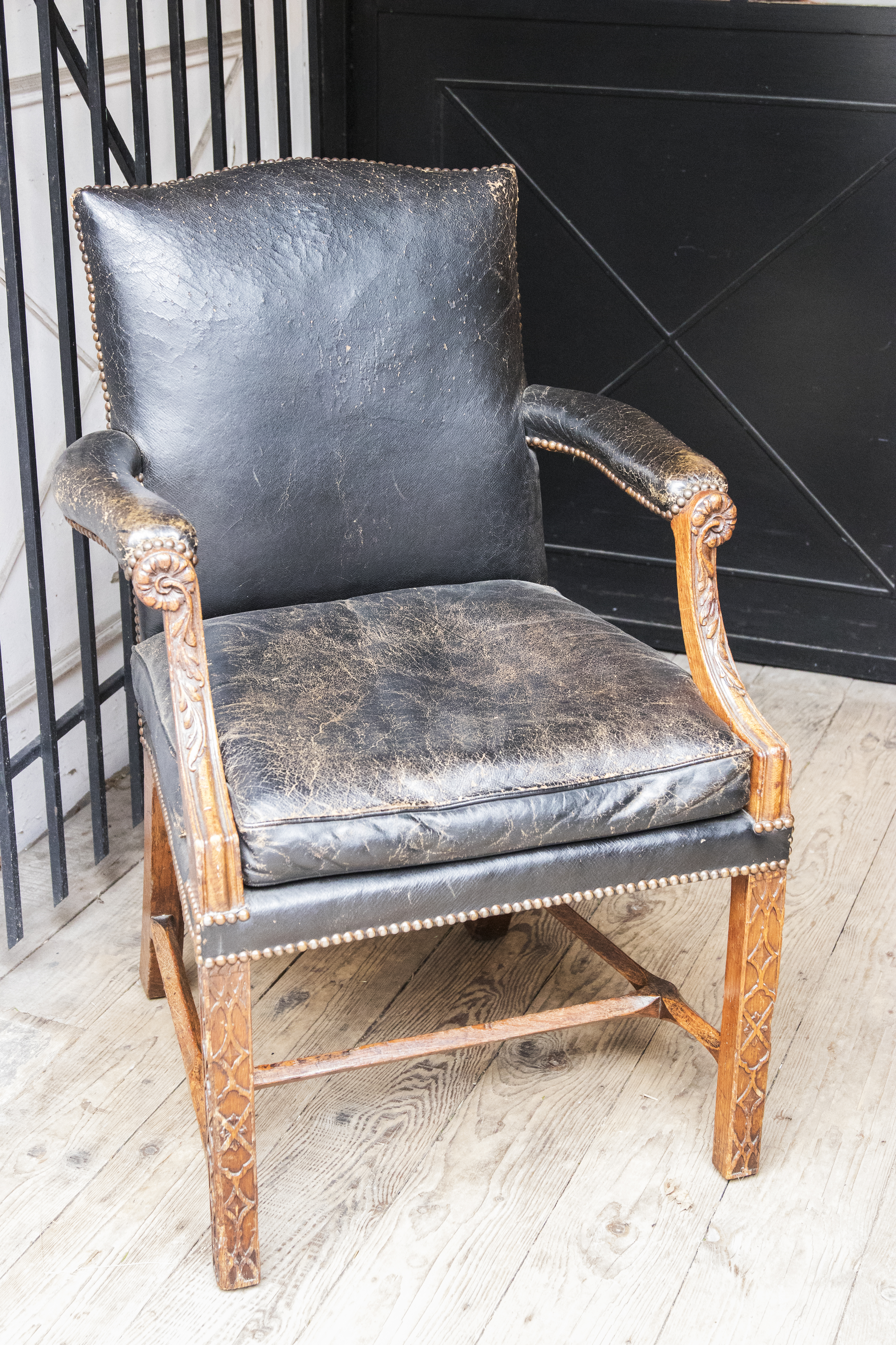 Antique Green Leather And Oak Office Chair